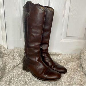Frye Melissa Button Lug Cognac Brown Leather Boots